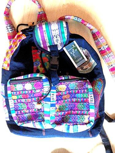 Fair-Trade-Regenbogen-Hippie Multicoloured Leinwand Patchwork-Rucksack-Spielraum-Festival-Tasche Rucksack M44