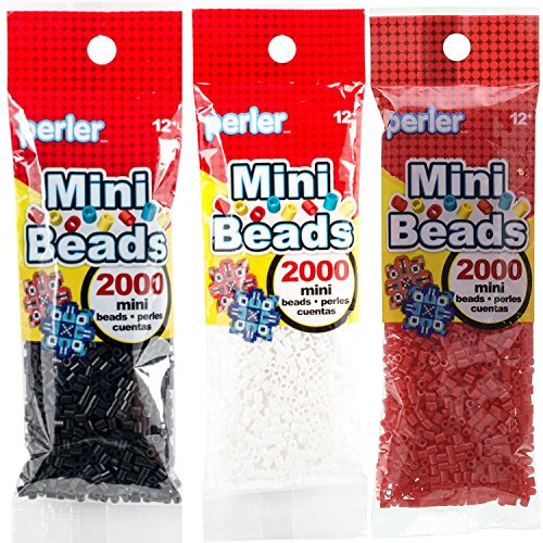 Perler Mini Beads Bundle - Black, White and Red by Perler