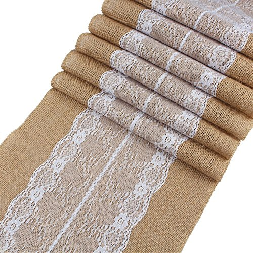 12x108 Burlap Hessian Table Runner Jute Rustic Country Vintage Wedding Party Decoration Engagement Party Table Runner with Lace in the Middle Home Kitchen Resturant Decoration