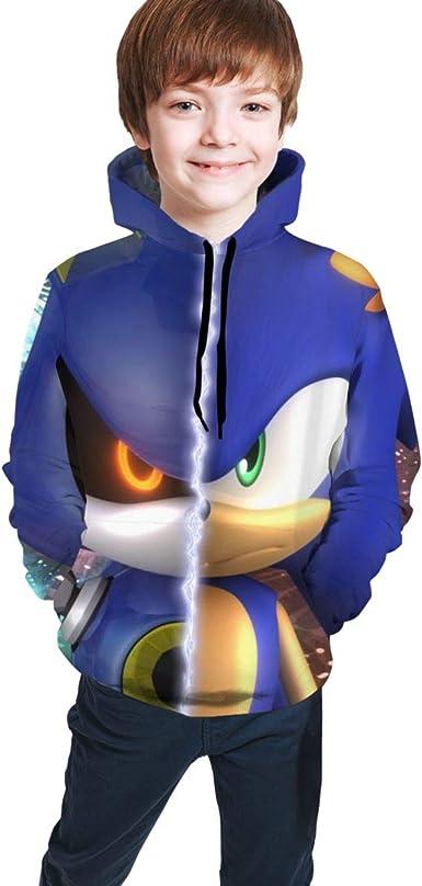 HAOLIJIA 3D Printing Sonic The Hedgehog Boys and Girls Hoodie Sports Hoodie Sweatshirt