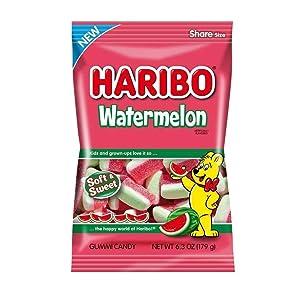 Seasonal Soft & Sweet Gummy Watermelon Haribo Gummi Candy - 6.3 Oz