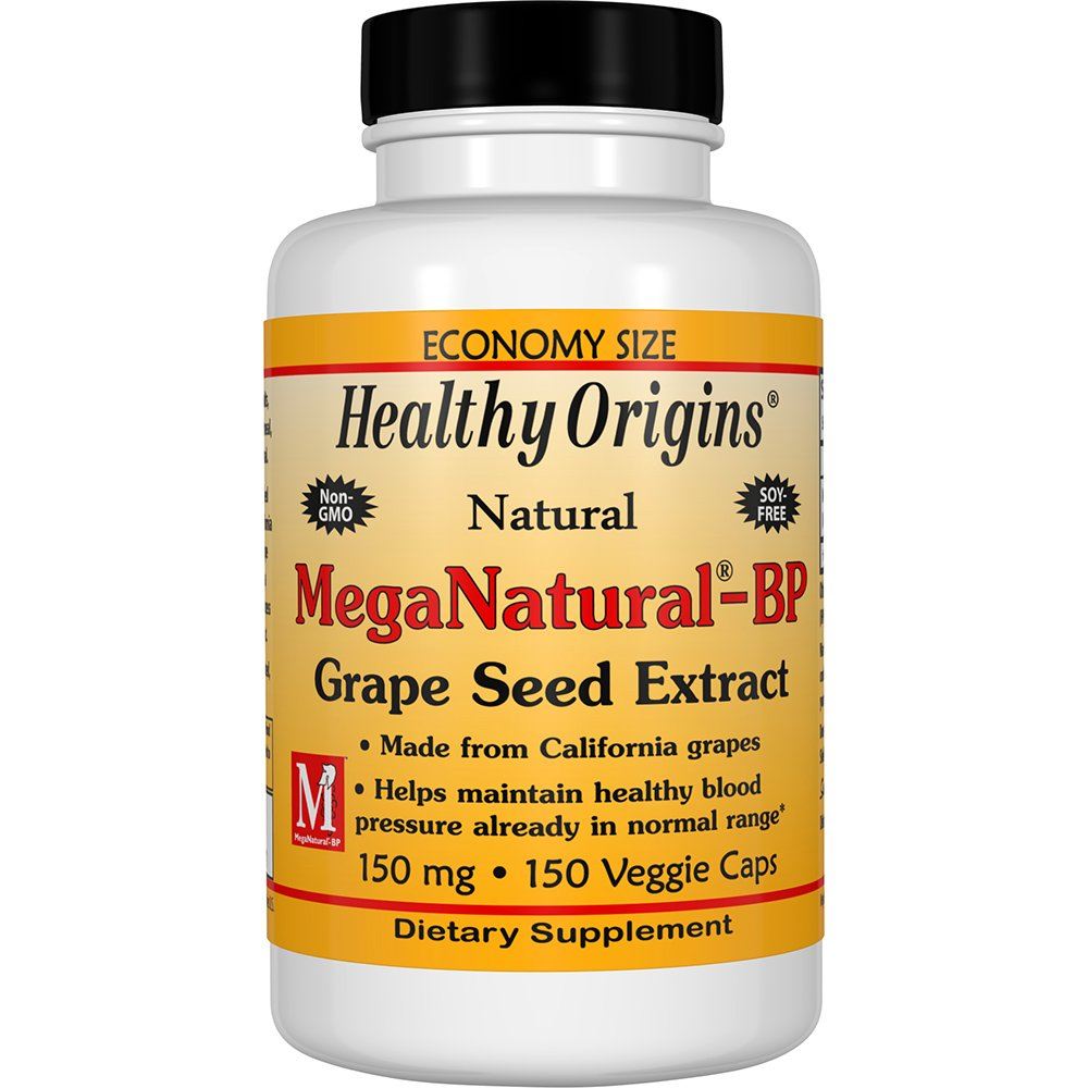 Healthy Origins Mega Natural BP-Grape Seed Extract, 150 Mg, 150 Count