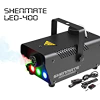 SHENMATE Professional Portable Wired/Remote Control DJ Fog Machine with LED Lights for Halloween Night Party Festival Wedding Stage (RGB)