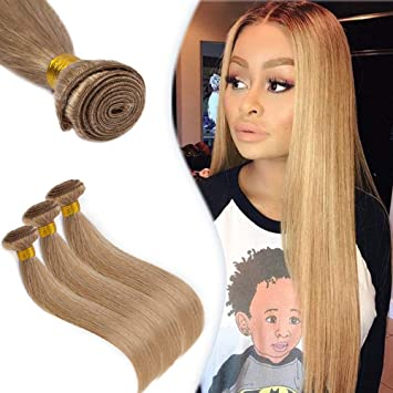 Blonde Human Hair Bundle Straight Unprocessed Brazilian Virgin Sew In Human Hair Weft Extensions 100g Bundle 27 Honey Blonde 20