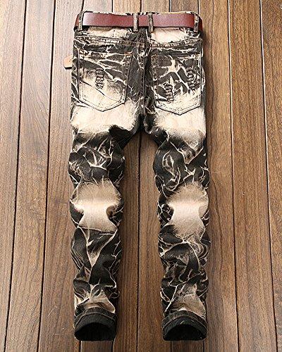 Foro Del Retro Uomo Mendicante Pantaloni Giallo Hip Leggings Strappati Hop Jeans x1ZwaRqX