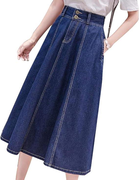 Andopa Falda de mezclilla con vuelo estilo retro con bolsillos ...