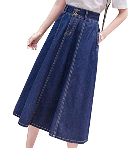 best place for attractive & durable how to orders Andopa Women's Retro Style Fit and Flare Jean Skirt with ...