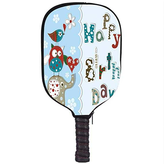 Amazon.com : iPrint Neoprene Pickleball Paddle Racket Cover Case, Birthday Decorations for Kids, Patchwork Inspired Owl Birds Elephant Flowers, ...