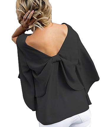 Simple-Fashion Primavera y Otoño Backless Corbata de Moño Shirts ...