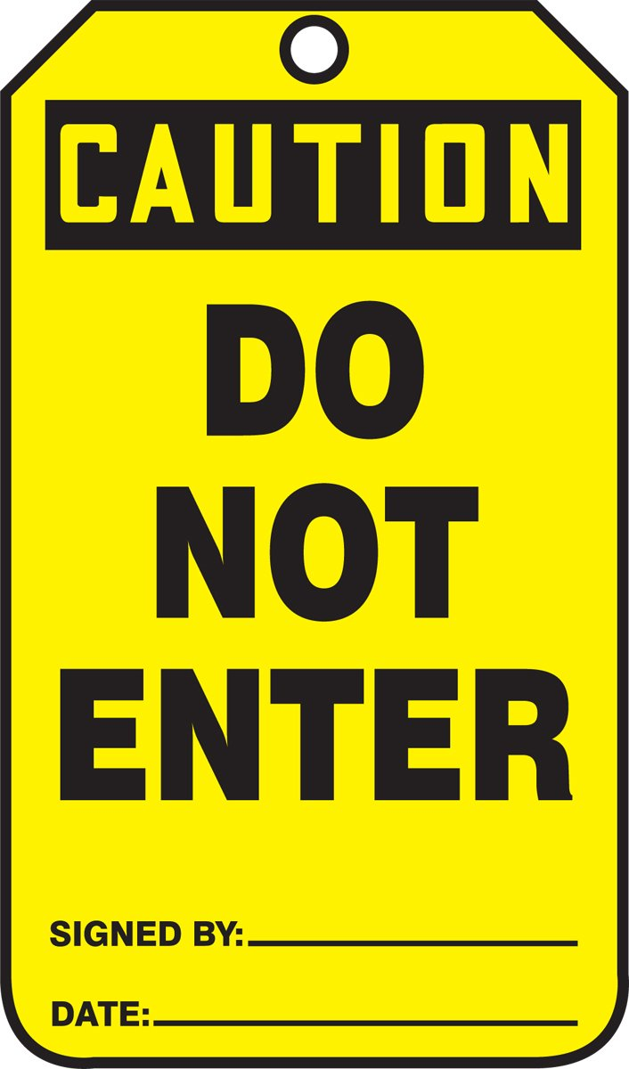 Accuform MDT650CTM PF-Cardstock SAFETY Tag LegendCaution Do Not Enter Black on Yellow LegendCaution Do Not Enter 5.75 Length x 3.25 Width x 0.010 Thickness 5.75 Length x 3.25 Width x 0.010 Thickness Pack of 5