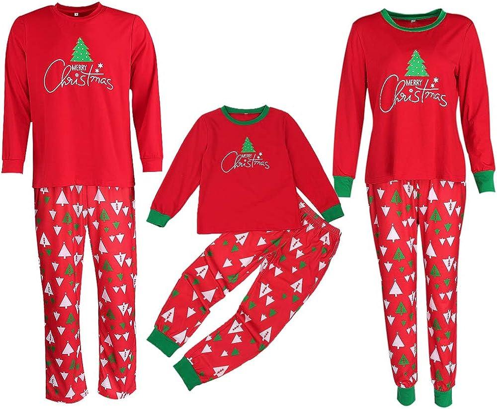BaZhaHei-Navidad Familia Pijamas Ropa de Dormir Juego de Navidad de Mujeres mam/á Casual Santa Camisetas de Pantalones de Mujer Hombre Ni/ño Conjunto de Pijamas caseros de Manga Larga Pantal/ón