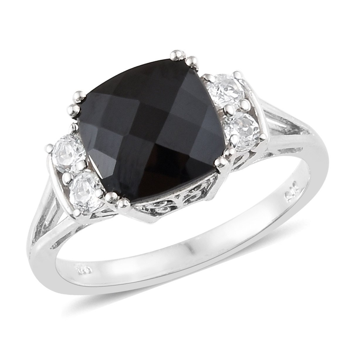 925 Sterling Silver Platinum Plated Cushion Black Spinel, White Topaz Fashion Ring for Women Size 7