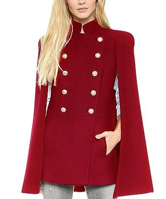 Manteau Femme Chaud Cape Parka Épais Hiver Veste Double Boutonnage Châle  Chic Doudoune Outwear Blouson Pas d055eab6f151