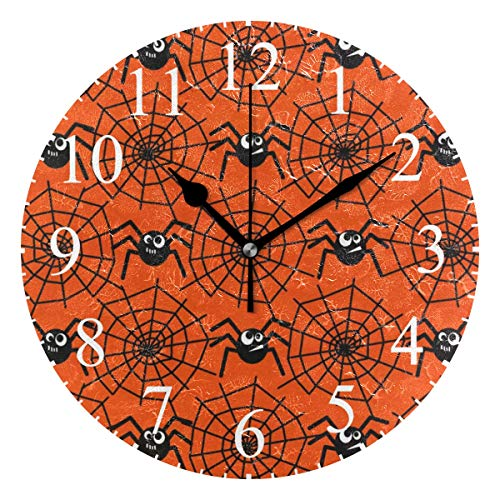 Grapefruit Boy Wall Clock,10 Inch Halloween Spiders and Webs Pattern Clock Battery Operated Round Easy to Read Home/Office/School Clock -