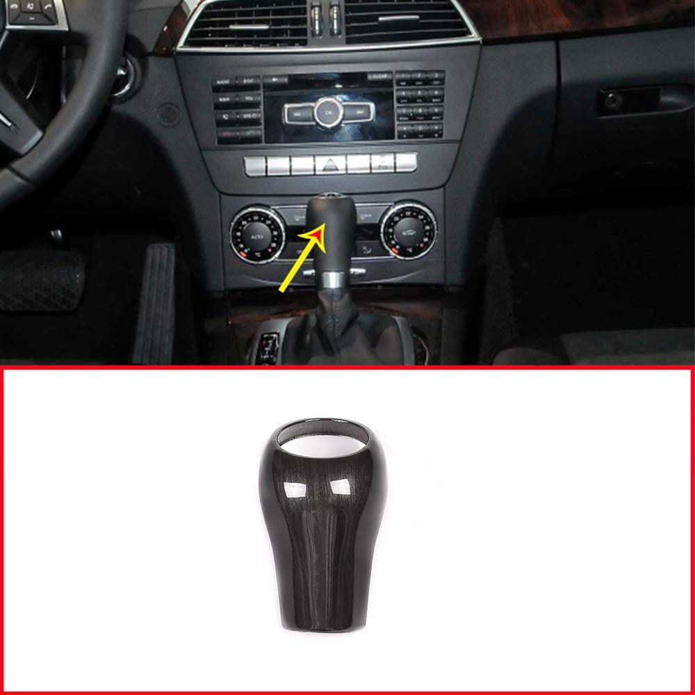 YIWANG Black Wood Grain Gear Shift Knob Cover Trim For Benz C Class W204 E W212 GLK X204 CLS W218 A G Class Auto Accessories