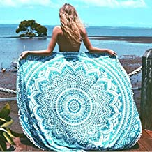 beautiful multi colour beach throw round tapestry Indian Mandala Round Roundie Beach Throw Tapestry Hippy Boho Gypsy Cotton Tablecloth Beach Towel WITH BEAUTIFUL POM POM BORDER