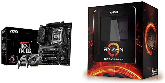 MSI TRX40 PRO 10G Motherboard with AMD Ryzen Threadripper 3990X 64-Core, 128-Thread Unlocked Desktop Processor, without cooler