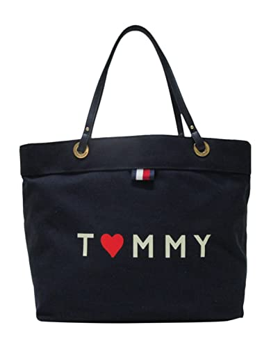 Amazon.com: Tommy Hilfiger Canvas Tote Bag Heart Red White Blue ...
