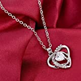 by lucky Fashion Women Heart Crystal Rhinestone Silver Chain Pendant Necklace Jewelry