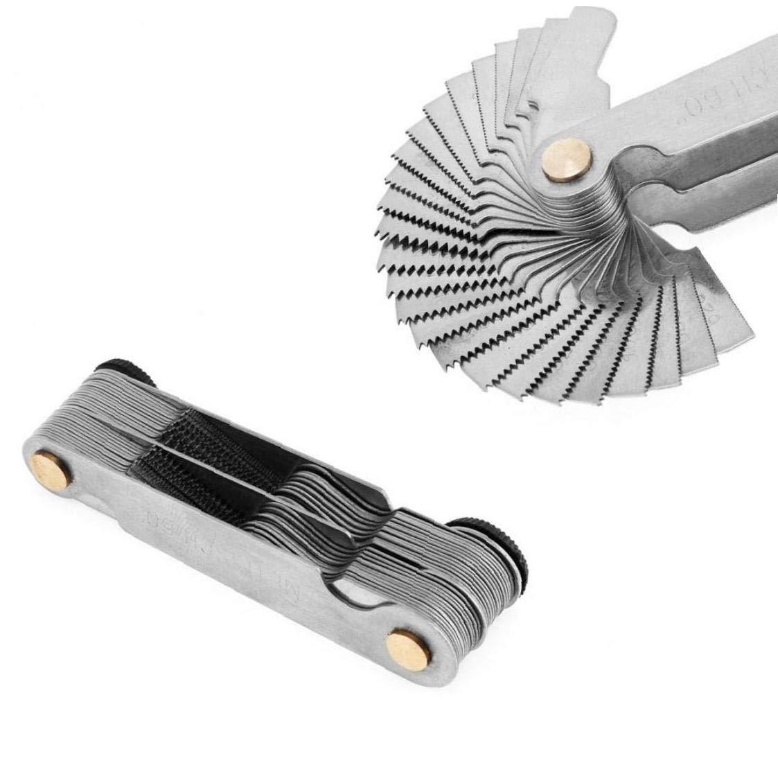 Angoter 1PCS Fixmee 20 Cuchillas Instrumentos de medici/ón medidores 1PCS 60 Grados Whitworth y 1PCS 60 Grados M/étricas Tornillo Rosca de Paso Mida Gage