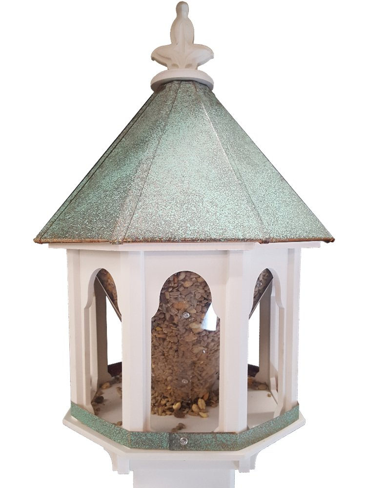 Wild Bird Feeder Solid Cellular PVC Patina Copper Roof (F8V) Made In the USA