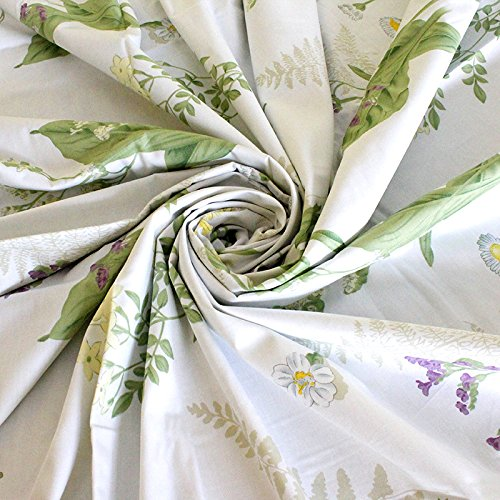 FADFAY Shabby Green Floral Duvet Cover Set Green Yellow Purple Blue Flowers Cotton Bedding Set 3 Pcs(1duvet Cover & 2pillowcases)California King Size by FADFAY (Image #6)