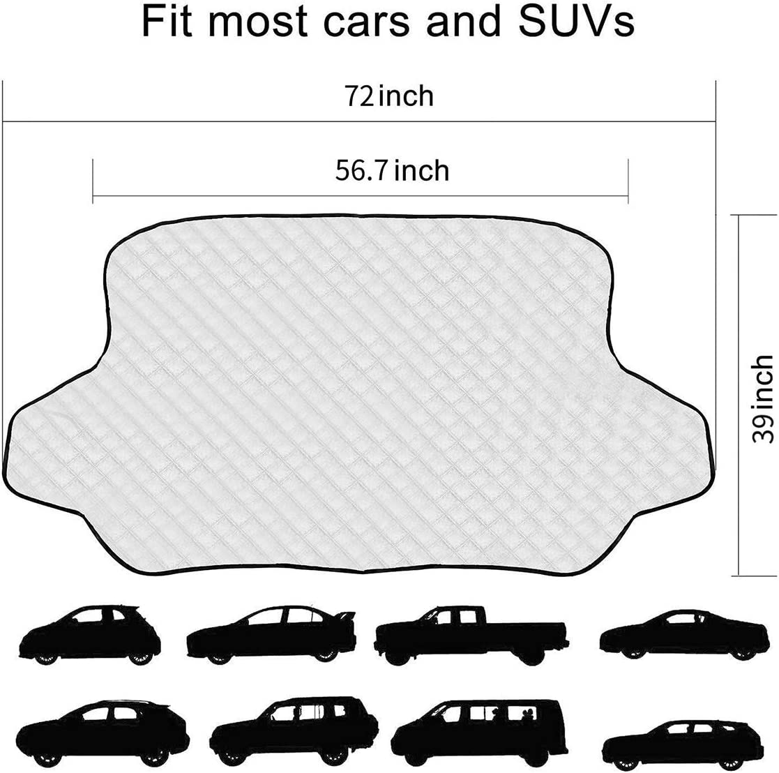 58 X40 EZNILE Car Windshield Snow Cover Winter Frost Guard Windshield Snow Ice Sun Defense Cover with 4 Layers Protection Fits for Most Cars and SUV