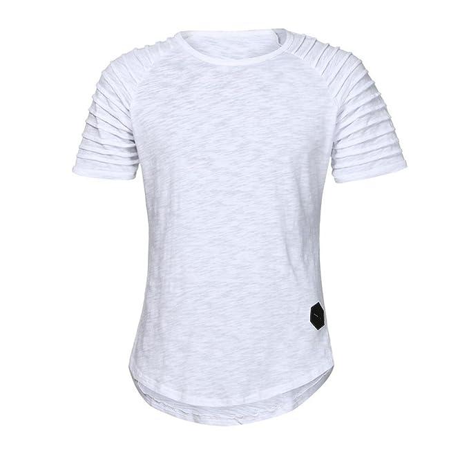 Naturazy-Camiseta Camisas Estampadas Hombre Manga Larga De Algodón De Manga Corta con Cuello En