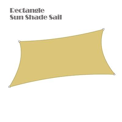"""Alion Home Waterproof Woven Sun Shade Sail - Desert Sand (13 ft 1"""" x 9 ft 10"""" Rectangle) : Garden & Outdoor"""