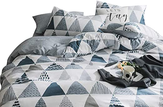 4 Corner Ties Twin VCLIIFE Cotton Bedding Sets Gray Yellow Black Geometric Print Design 1 Duvet Cover + 2 Pillowcases - Zipper Closure