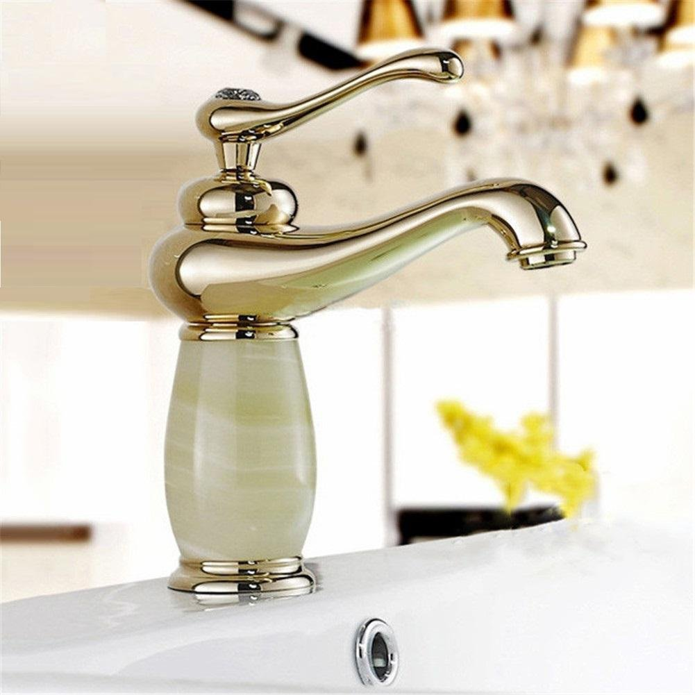 GAOF Basin Faucets Gold Finish Single Lever Basin Faucet Deck Mount Bathroom Sink Mixer Tap faucet for bathroom torneiras XKW-6006K Faucet , 3 free shipping