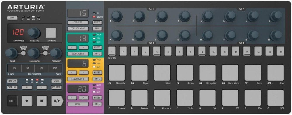 Black Limited Edition Arturia BEATSTEPPRO Portable USB Pad Controller and Sequencer