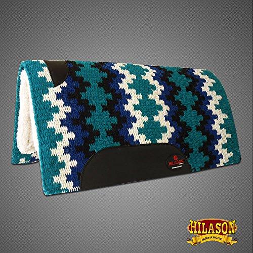 HILASON Made in USA Western Wool Felt Saddle Blanket Pad Teal Black White