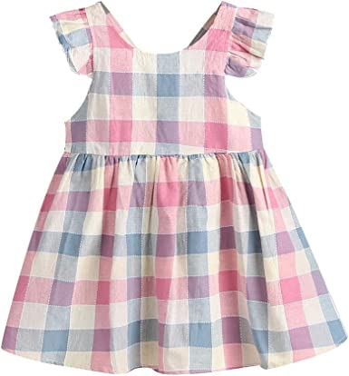 Toddler Kids Baby Girls Clothes Backless Dress Plaid Ruffle Party Dress Sundress