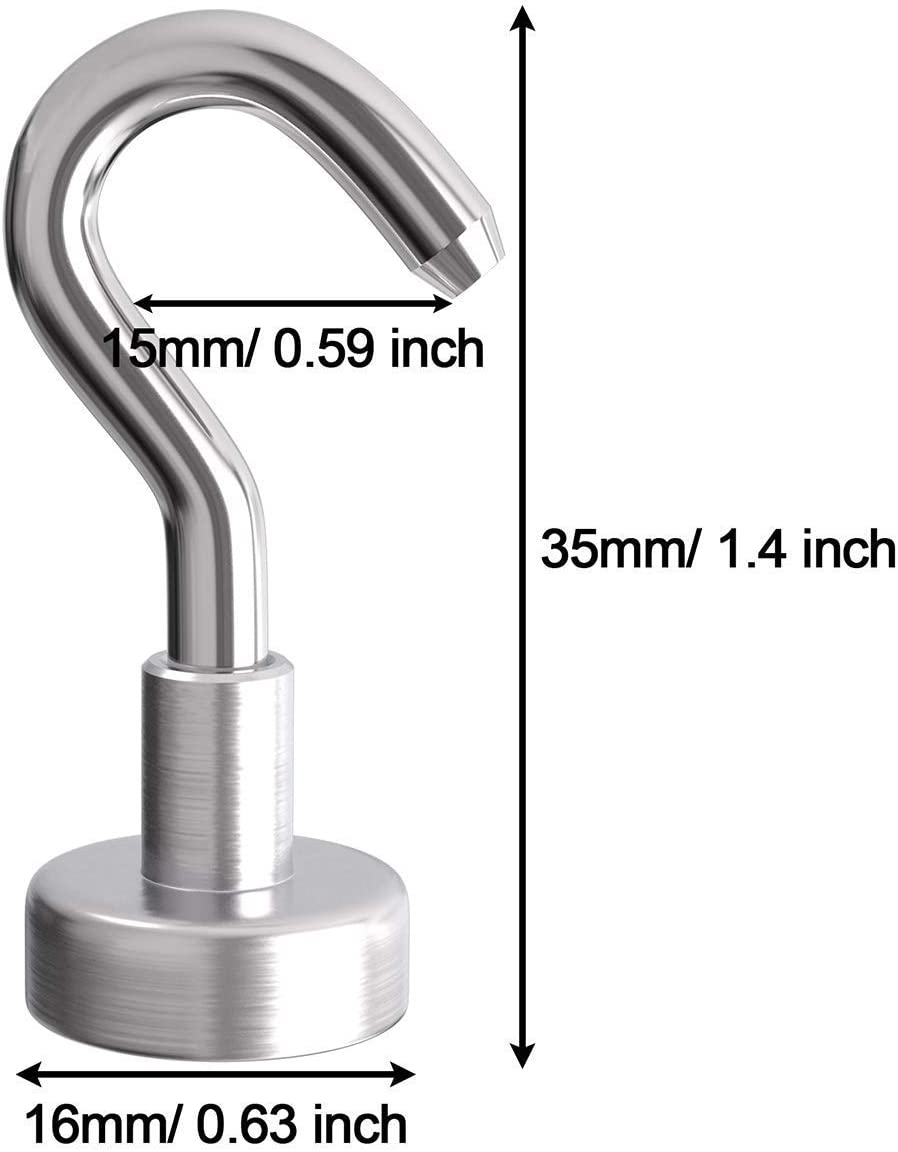 16mm Wukong 10 Pack Magnet Hook,5.4kg Pulling Force Powerful Round Neodymium Fishing Magnet Heavy Duty Magnetic Hooks Diameter 0.63 inch