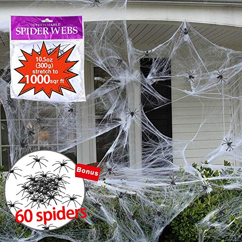 Giant Spider Web Halloween Decoration, Super Stretch to 1000 Square Feet Web with Scary 60 pcs 1.5