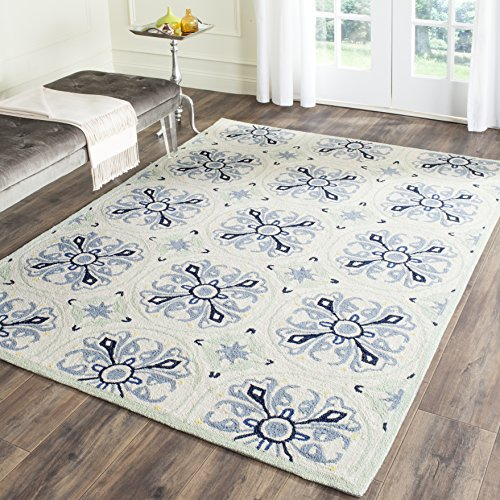 Hand Hooked Blue Rug (Safavieh Four Seasons Collection FRS392A Hand-Hooked Ivory and Blue Indoor/ Outdoor Area Rug (4' x 6'))