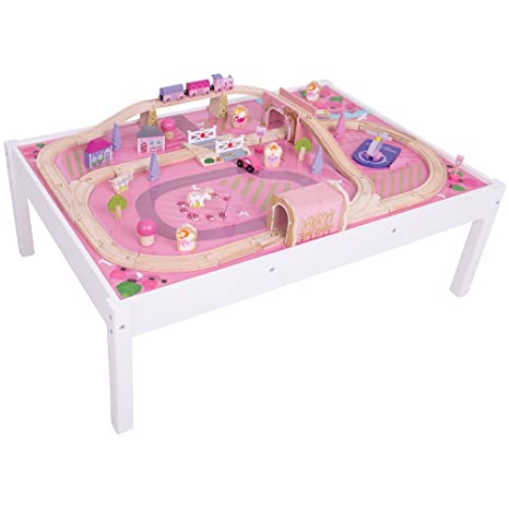 Amazon.com: Bigjigs Rail Magical Wooden Train Set and Table - 59 ...