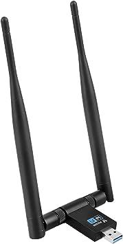 EasyULT Adaptador WiFi USB 3.0 1200Mbps, Desmontable Antena Antena 5dBi WiFi Inalámbrico WiFi Receptor Dual Band (5GHz 867Mbps / 2.4GHz 300Mbps) para ...