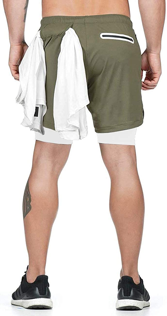 Running,Crossfit Weight Lifting. Men 2 in 1 Shorts Athletic,Built-in Quick-Dry Liner,with Towel Loop for Training,Jogger