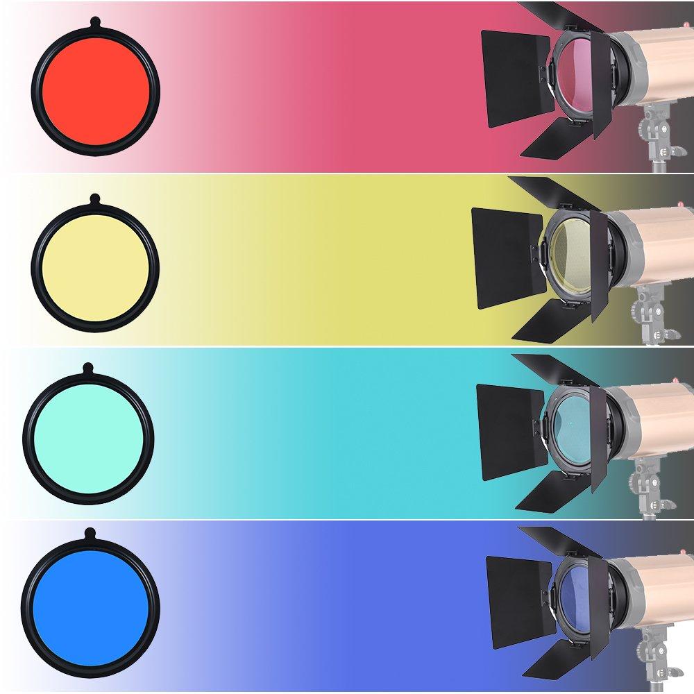 96mm Universal Mount Metal Bardoor Barn Door Barndoor with Honeycomb Grid 4pcs Color Gel Filters for Neewer Godox 180W 250W 300W Andoer MD-250 MD-300 Studio Strobe Flash Light Monolight