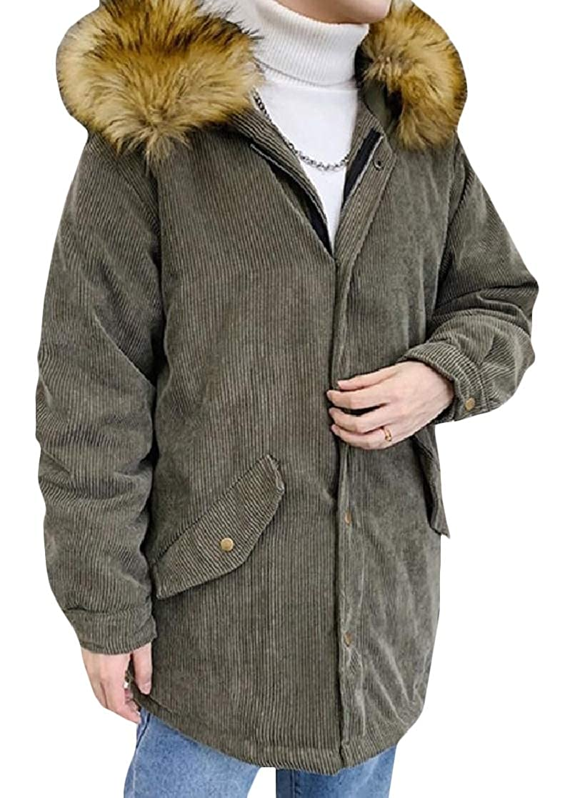 YUNY Mens Solid Cotton Thickening Striped Mid Length Leisure Down Parka Army Green M