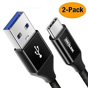 Cable Tipo C 3.0 [2 Uds,2M], BrexLink Cable Cargador de Carga Rapida Nylon para Xiaomi Mi A1 A2 A3 9T Redmi Note 7 8, Samsung Galaxy S8 S9 S10 A40 ...