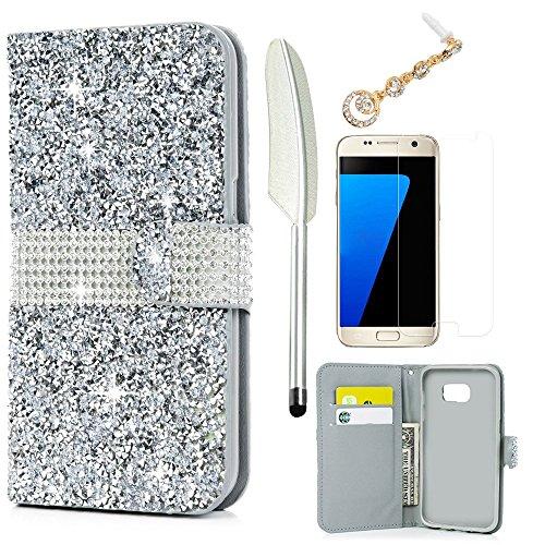 S7 Edge Case (NOT for S7), Samsung Galaxy S7 Edge Case Wallet Case Folio Flip Kickstand Shiny Glitter Diamond Premuim PU Leather Case Cover Card Holders Soft TPU Buper Skin Dust Plug Stylus Silver