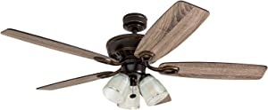 """Prominence Home 51017 Marston Rustic Farmhouse Ceiling Fan, 52"""", Oil Rubbed Bronze"""