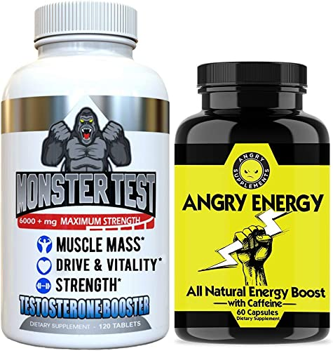 Angry Supplements Monster Test Testosterone Booster Angry Energy 2-Bottle Bundle – Maximum Strength Testosterone Boosting Energy Stamina Pack for Men – Safe, Natural Pills 2-Bottles, 180 Count