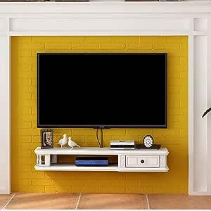 Estante Estante de pared flotante Gabinete para TV Soporte para televisor Estante para decodificador de TV Unidad de almacenamiento Consola de TV Organizador para estante para cable de DVD: Amazon.es: Hogar
