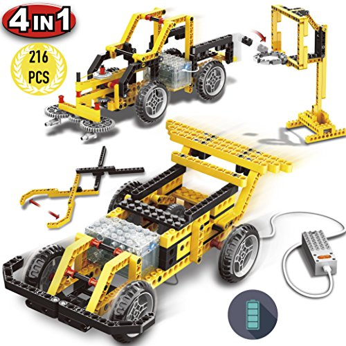 4 in 1 electric race car building set, 216 pieces kids DIY engineering vehicle race car, street sweeper, gripping pliers, basketball stand building blocks set with electronic motor, creative building