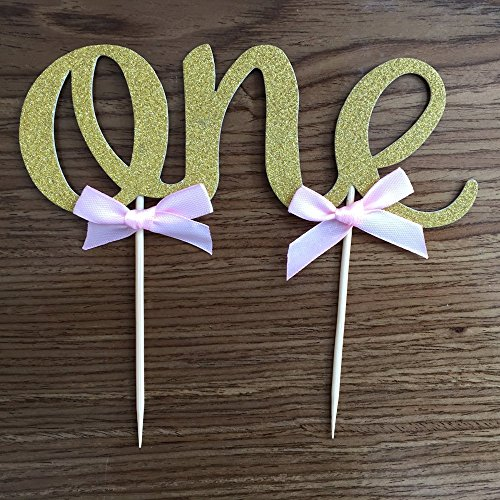 Handmade 1st First Birthday Cake Topper Decoration – One – Made with Double Sided Gold Glitter Stock,Set of 2