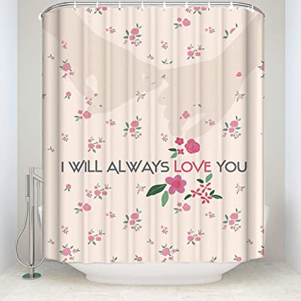 DNeal Flower Hand Love Art Illustration Waterproof Fabric Shower Curtain For Bathroom Dorm Decor